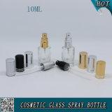 10ml Botella de vidrio transparente de cosmética transparente con rociador de niebla de aluminio