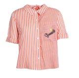 Une bande d'été col rond Mesdames fraîches chemises à manches courtes