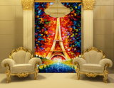 Het abstracte Olieverfschilderij van de Toren van Parijs op Canvas voor de Decoratie van de Muur van de Woonkamer (modelleer Nr: Hx-4-059)