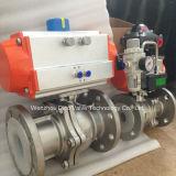 Flotante de acero inoxidable puerto lleno de válvula de bola de brida con actuador neumático doble
