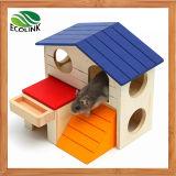 Un petit animal Pet repaire de hamster Cages de cobaye de l'échelle de la chambre Deluxe deux couches cabane en bois jouer jouets mâche