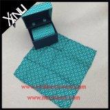 100% hecho a mano impresa seda corbata con la plaza de bolsillo