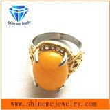 Het gietende Roestvrij staal van Juwelen met de Gele Ring van de Vinger van de Manier van de Steen