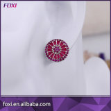 Ruby Cubic Ziconia Round Pizza Boucle d'oreille Brincos Zirconia