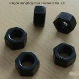 Noix DIN934 Hex lourdes de la pente 5 avec le fini noir