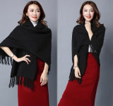 Mulheres Fashion Viscose Nylon Knitted Fringe Winter Shawl (YKY4529)