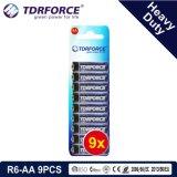 1,5 V de la Chine usine Prix de gros de la batterie au carbone-zinc (R6-AA 9pcs)