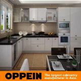 Мебель кухни PVC высокого лоска L-Shaped оптовая модульная деревянная (OP14-125)