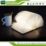 Foldable Design Wooden Book Shaped LED Night Light for Room Decoration