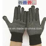 Черная строка перчатки с ПВХ точками упора для рук