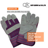 K-36 Grey Split Cow Full Palm Liner Pasted Cuff Canvas Back Leather Working Safety Gloves