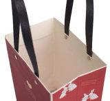 Saco de compras de papel impresso logotipo personalizado saco de papel de vinho tinto com pegas gratículo de malas