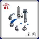 Sanitaria de acero inoxidable 304 Válvula de mariposa 316, operado manual / neumático