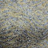 Напечатанная шелком обувная кожа мешка Faux PU яркия блеска Weave