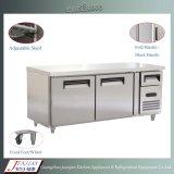 Ovaciones de la puerta de cristal de acero inoxidable cocina comercial mesa de trabajo congelador