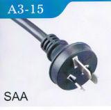 SAA aprovou o cabo de alimentação CA de 3 pontas da Austrália (A3-15)