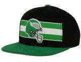 高品質の縞の刺繍の緑の平らなビルの急な回復の帽子