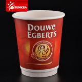 Wegwerfbare gewölbte kundenspezifische Zeichen-Auslegung gedruckte Kräuselung-Wand-heiße Papierkaffeetasse