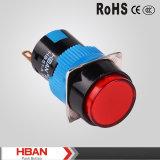 セリウムのRoHS TUV 16mmの平らな円形ヘッド、赤いLEDライト、瞬時の(リセットの)押しボタンスイッチ