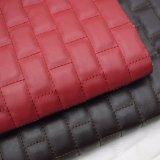 Couro do plutônio do bordado para o couro de sapata do saco do falso da mobília do sofá