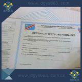 Impression de certificat de papier de filigrane de sécurité