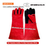 K-24赤いカラーはやし働く安全牛そぎ皮の溶接手袋を追加する