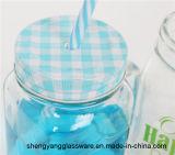 Tazza di vetro di vendita della tazza di vetro calda della bevanda con il vaso di vetro di Marson della tazza di vetro di colore del coperchio del metallo