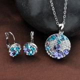 Conjunto cristalino redondo de la joyería del collar de Austrial del pendiente y del colgante de la aleación