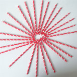 Rote Farben-Inner-Druckpapier-Trinkhalme für Hochzeit