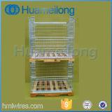 Palette de cage pliable en acier de stockage avec palette en bois