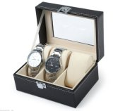 Cadre de montre en cuir d'unité centrale de fentes du noir 3 de guichet en verre