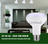 As lâmpadas LED RGBW E27 B22 10W Dimerizável Luzes com controle remoto