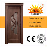 Porta de interiores de design superior, portas de vidro de PVC MDF (SC-P196)