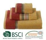 Fio Dyed Bath Towel com Stripe Border