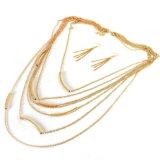 2개의 색깔 보히미아 보석 고정되는 까만 금 색깔 사슬 긴 목걸이