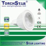 Alumínio LED de GU5 COB 6W de ângulo de feixe de 100 graus