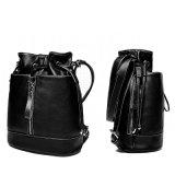 Les femmes noires cuir synthétique sac à dos de la mode en cuir Sac avec lacet de serrage