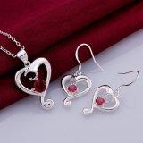 La joyería de la manera fija el collar y los pendientes plateados plata del Zircon de la dimensión de una variable del corazón