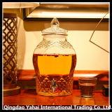 6L는 다이아몬드 패턴을%s 가진 유리제 음료 분배기 단지를 지운다