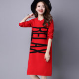 Langer Art-Pullover-strickendes Kleid zwei Farben-Frauen, Strickjacke