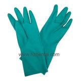 緑のニトリルの産業手袋の安全化学作業手袋
