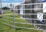 농장에 있는 가축 가로장 울타리 이용된 말 담 위원회