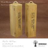 Hongdao personalizado color natural de madera de vino regalo embalaje caja de almacenamiento para una botella _E