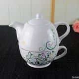 カスタマイズされた白いカラー陶磁器の茶鍋セット