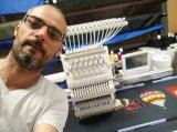 Cabezal único informatizado de 15 colores Tapa plana mayor de la máquina de bordado