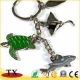カメの形のキーホルダーの鮫の形のキーホルダーの自然なウミガメの吊り下げ式のキーホルダー