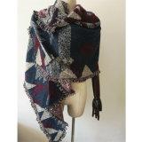 編まれた冬の重い三角形の幾何学の印刷のショールのスカーフ(SP300)のような女性のカシミヤ織