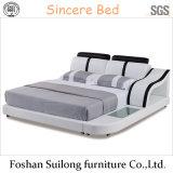 Moderne reale lederne moderne Bett-Bett-Möbel 8002