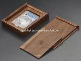 Lujo de encargo de la insignia que resbala el rectángulo de regalo de empaquetado de madera de la nuez de la tapa