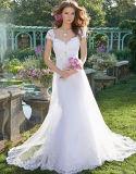 Ivory Spitze-Brautkleid-Nixe-Strand-Arbeitsweg Boho Hochzeits-Kleid H02